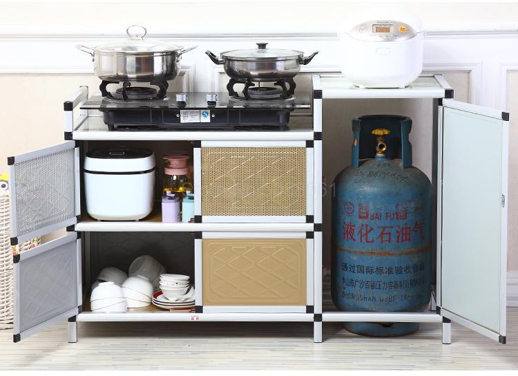 Kitchen cabinet gas stove shelf aluminum cupboard ...