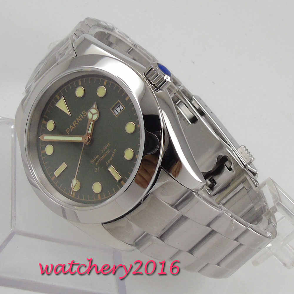 Top Brand Luxury 40mm Parnis Green Dial Mens Watches Military Beautiful Citizen 21 Jewels Miyota Automatic