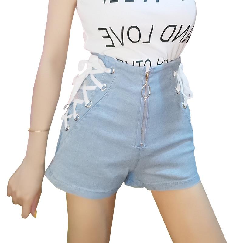 Summer Women's High Waist Denim Shorts Sexy Bandage Shorts Jeans Korean Style Harajuku Fashion Zipper Lace Up Hot Shorts