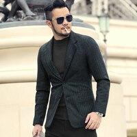 Men Autumn and Winter Gentlemen Dark Blue Texture Woolen Suit Blazer Men's Casual England Style Slim Business Suit New F196 3