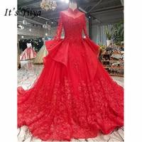 It's Yiiya New High Neck Red Bride Gown Luxury Beading Wedding Dress Vestidos De Novia Casamento I012