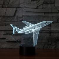 Private Jet 3D с подсветкой 7 цветов изменить 3D ночник гостиная для спальня настольная лампа Touch самолет usb настольная лампа