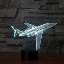 private JET 3D light LED 7 Color change 3D Night Light sitting Room Baby Bedroom Table Lamp Touch Air Plane USB Desk lamp