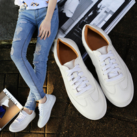 Women White Shoes Women Casual Shoes Spring Summer Student Shoes Concise Low Top Flat Lace Up