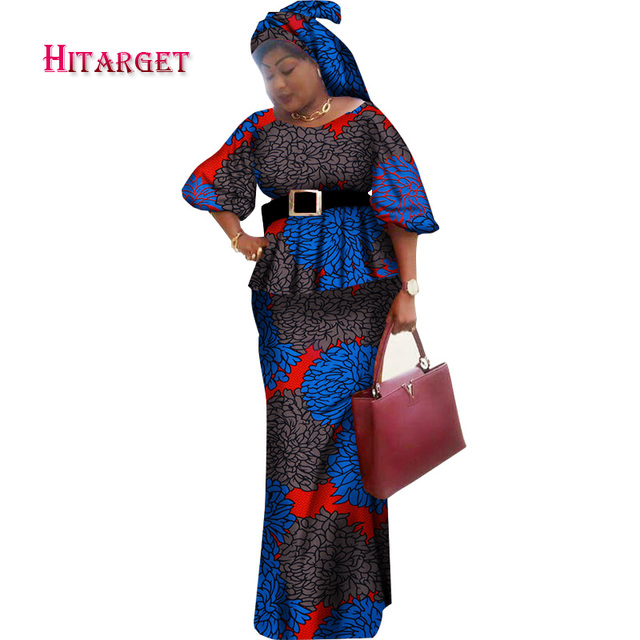 African Woman Clothing 2 Piece Sets with Head Tie Straight Skirts Sets Dashiki Print Crop and Skirt Sets African Clothes WY1638