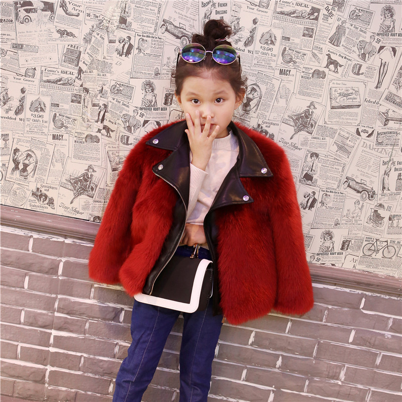 Fur Coat for Girls Stylish Jackets Baby Girl Coats Winter Plush +Leater Children Clothes Warm Fur Outerwear Cute Kids Clothing children winter clothing coat for girl wool down jackets for girls baby woolen jacket outerwear kids thicken clothes coats parka