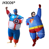 2016 Fan Operated Airblown Inflatable Fat Superman Costumes For Halloween Purim Party Club Funny Cosplay Fancy
