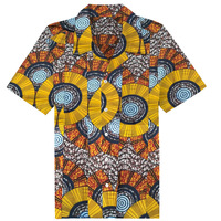 New Clothing Fashion Pattern Design African Traditional Printed Cotton Bazin Riche Men 100 Cotton Short Sleeve