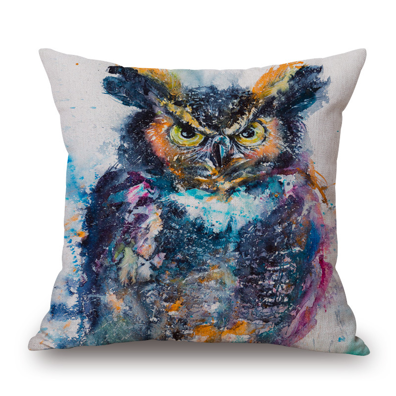 Factory Supply Direct Selling Owl Ink Linen Throw Pillow