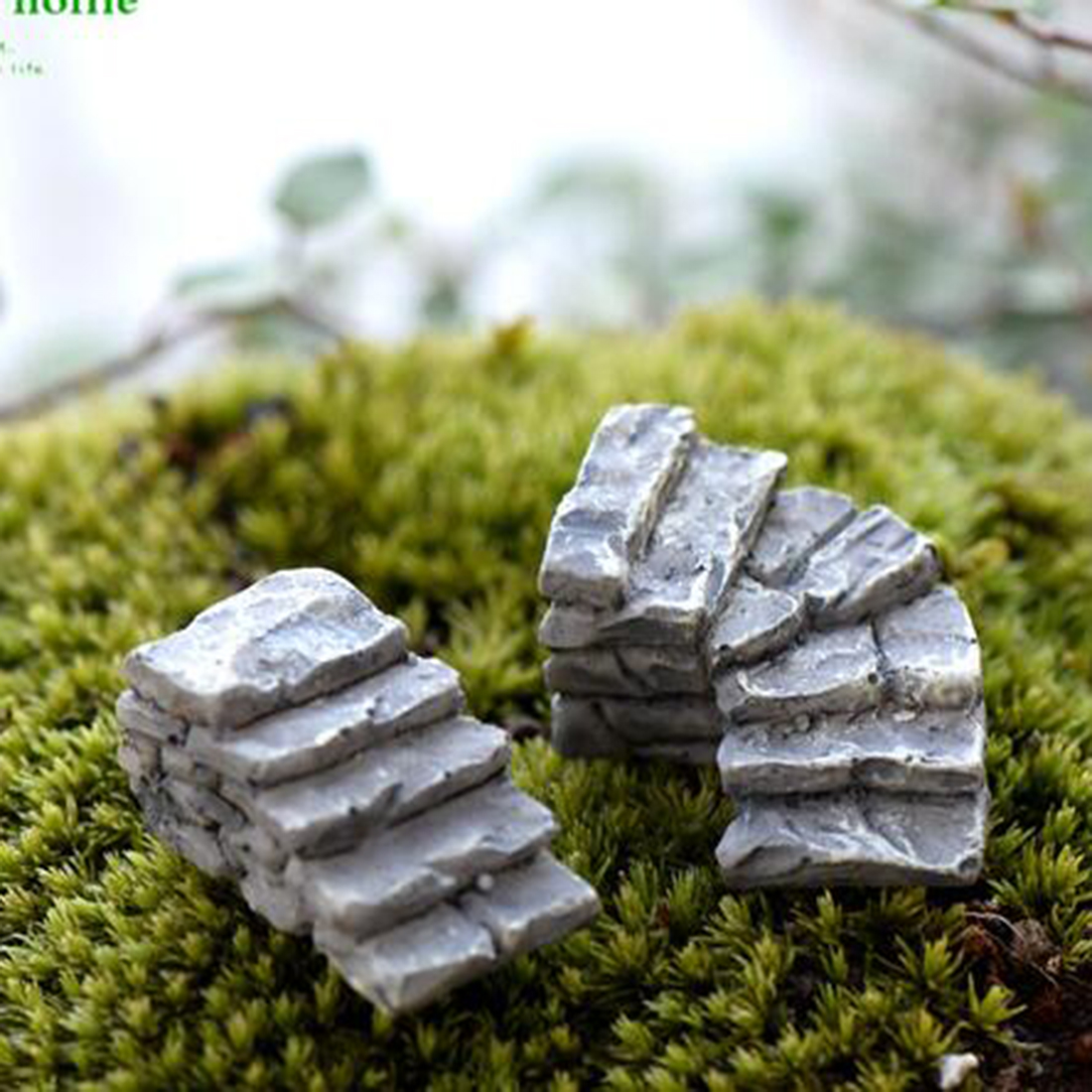 Miniature Craft Gray Stone Steps Stair Micro Landscapes Mini Fairy Garden Decoration Moss Ecological Bottle DIY