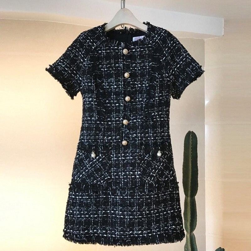 2018 New Runway Retro Plaid Wool Winter Dress Tweed Women Short Sleeve Tassel Fringe Trim Beading Vintage Dresses Vestidos robes
