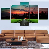 NO FRAME Paintings Sunset Landscape Pictures 5 Pcs Wall Art Abstract Oil Painting On Canvas Print