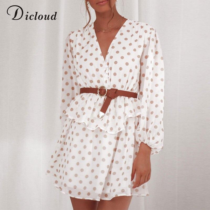 DICLOUD Elegant Polka Dot See Through Chiffon Vintage Dresses Women Summer Autumn Long Sleeve Beige Beach Party Sundress