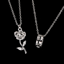 2 pcs/set Fantastic Best Friends Necklaces Rose And Ring Pendant Jewelry for Lovers Gift