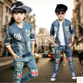Дети мальчиков и девочек детская одежда костюм 2016 Весной и осень новые джинсовые случайные двух частей большой девственный джинсовый жакет + брюки