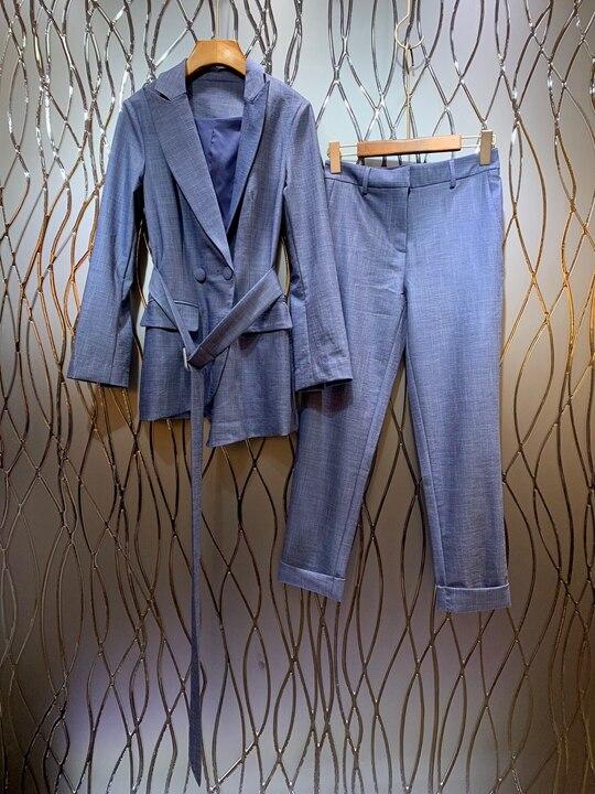 Summer 2019 new women s suit tie waist long sleeve jacket trousers pure color casual suit