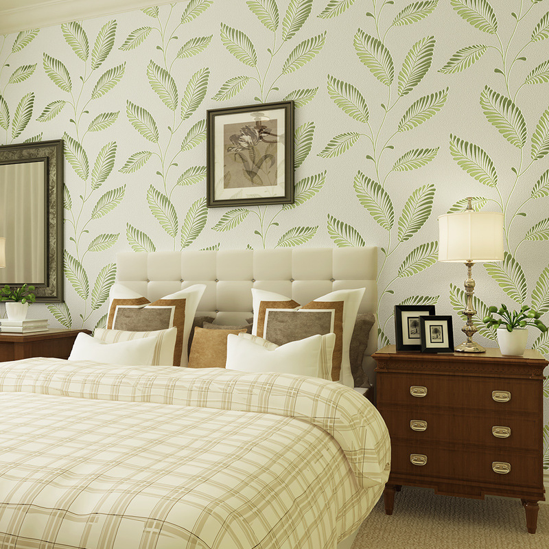 все цены на beibehang Modern simple non - woven wallpaper green leaves rattan wallpaper papel de parede para quarto, wallpaper for walls 3 d онлайн