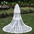 Luxury 3T 3M Long Lace Edge Cathedral Wedding Veil With Sequined White/Ivory Applique Bridal Veils With Comb Voile Mariage WB36