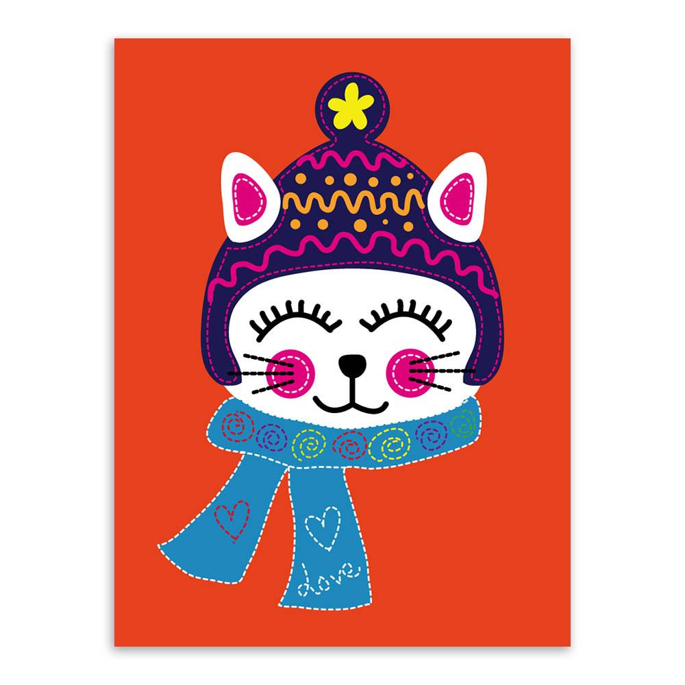 Gato Moderno Gatinho Kawaii Desenhos De Animais Laranja A4 Poster