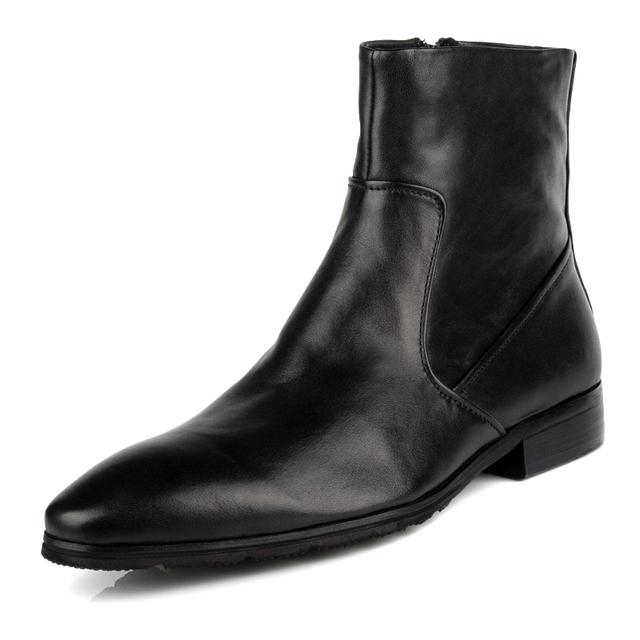 2017 Nueva Primavera/Otoño de Los Hombres de Cuero Genuino Suave Negro En Punta Transpirable Bullock Patrones Vestido de Oxford Zapatos Para Hombres botas