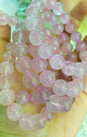 AA+ Genuine Rose Pink rock Crystal Quartz 8 10 12mm 8inch round ball pink red jewelry bracelet