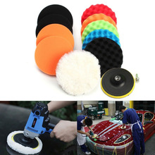 11Pcs 3/5/6/7 Inch Buffing Sponge Polishing Pad Kit Set For Car Polisher Buffer