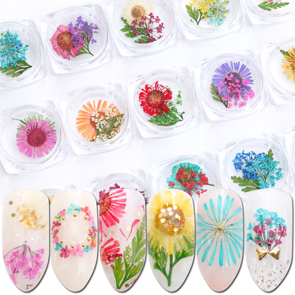 4 Box  Dry Flower For UV Resin Epoxy Mold DIY Jewelry Accessories Japanese Dried Flowers Female Trend Dress Nail Stickers