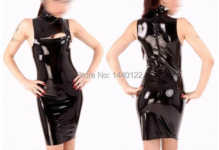 Summer dress black new latex one-piece dresses wet look rubber club wear clothes vestidos with chest zipper