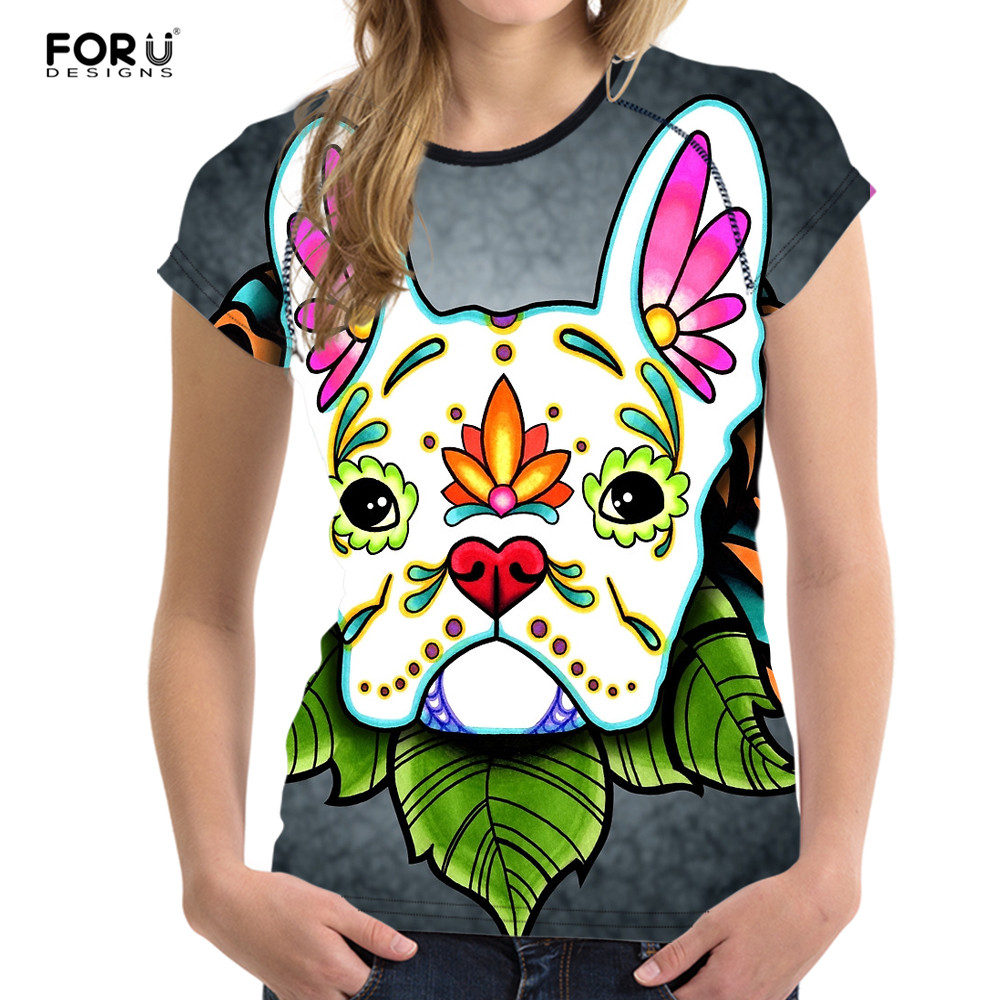 Forudesigns Day Of The Dead French Bulldog Brand Women Clothes Fashion Summer Women's Tops For 2018 Female T-shirt Woman Casual Wide Varieties