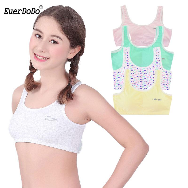 Cotton Girls Tank Top Underwear Kids Undershirts Puberty Bra Teenager YJ