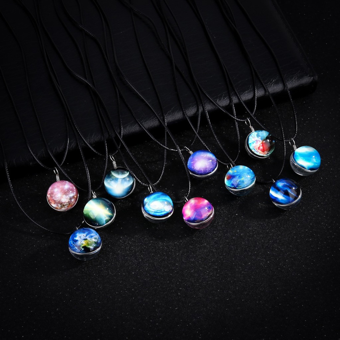 Time Gem Jewelry Necklace Glass Glowing Pendant Necklace Glow In The Dark Necklace Long Chain Luminous Necklace Starry Design