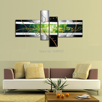 Hand Painted Abstract Acrylic Paintings On Canvas 4 Panel Green Big Wall Pictures For Living Room