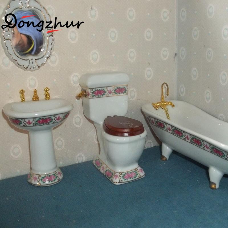 1pc Dollhouse Miniatures 112 Accessories Mini Bathroom Ceramic Bathtub Miniature Furniture Casa De Boneca In Doll Houses From Toys