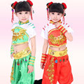 Antigua Danza infantil Ropa niños dancewear traje Folklórico chino Trajes Girls Dancing Tops + Pants + headwear