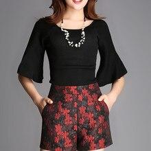 Женские весенне-осенние большие размеры с высокой эластичной талией Женская короткая юбка летние жаккардовые юбки d шорты женские плотные шорты