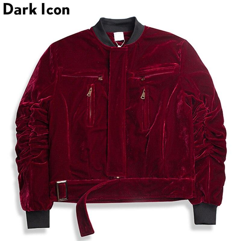 Buckle Hem Velvet Material Cotton Padded Men's Jackets 2017 Winter V-neck Warm Coats Men Wine Red Black White
