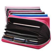 Women Wallet RFID Credit Card Holder Men Genuine Leather Long Card Holder Women Anti Theft Travel Wallet Passport Pocket(China)