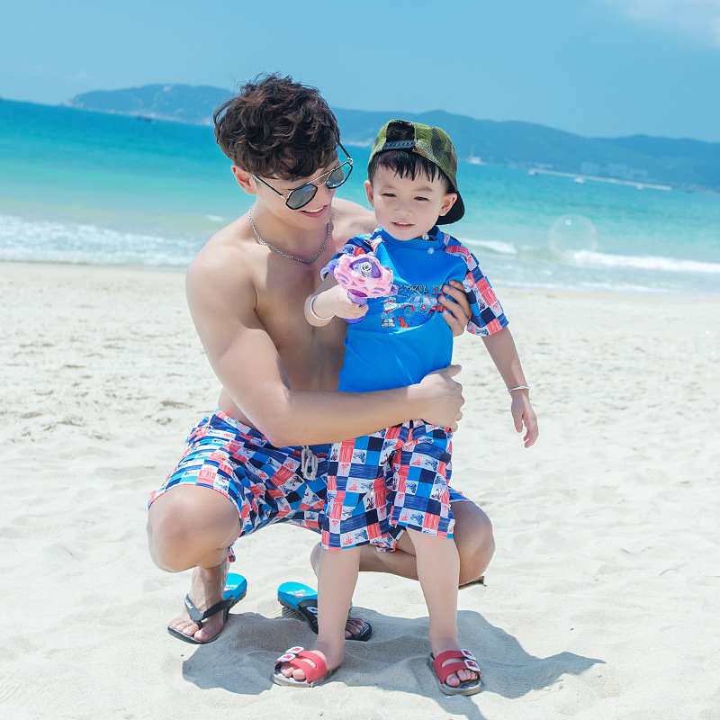 Children Cartoon Print Swimsuit Kids Rashguard Swimwear Boy Tshirt Swimming Trunks Shorts Family Men Bathing Suit Beach Wear Set Providing Amenities For The People; Making Life Easier For The Population Yoga