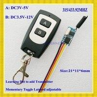 DC3V 3 6V 3 7V 4 5V 5V Remote Control Switch Micro Mini RF Receiver Transmitter