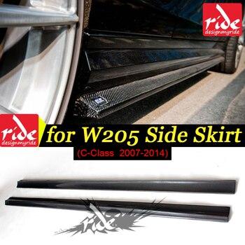Dành cho Xe Mercedes Benz C Class W204 C63 Sợi Carbon Bên Váy Ốp Lưng Môi Cho Benc w204 C Class C63 Bên váy Carbon 2007-14