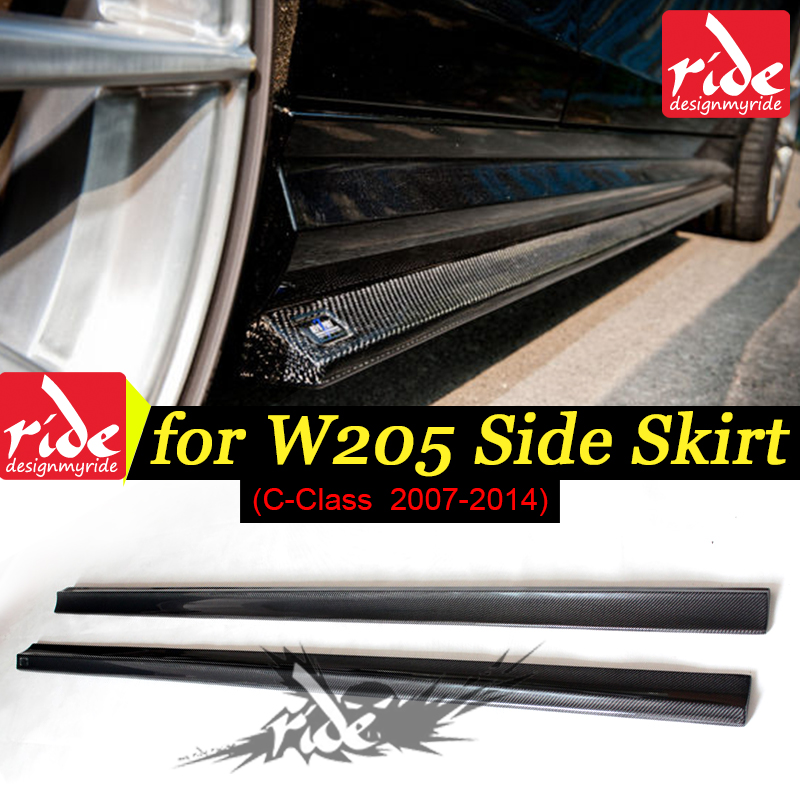 For Mercedes Benz C Class W204 C63 Carbon Fiber Side Skirt Bumper Lip Benc w204 Black 2007-14