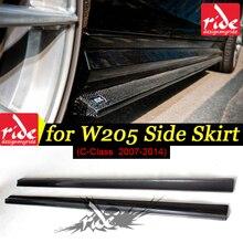 цена на For Mercedes Benz C Class W204 C63 Carbon Fiber Side Skirt Bumper Lip For Benc w204 C Class C63 Side Skirt Carbon Black 2007-14