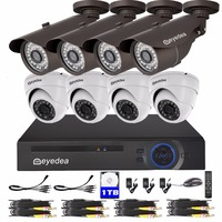 Eyedea DVR 8 CH 1080P Recorder 2 0MP Bullet Dome Outdoor Night Vision Supermarket Surveillance CCTV