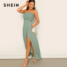 SHEIN Off The Shoulder Frill Trim Smocked Slit Hem Tube Dress High Waist Green Solid Women Sleeveless Fit And Flare Dresses