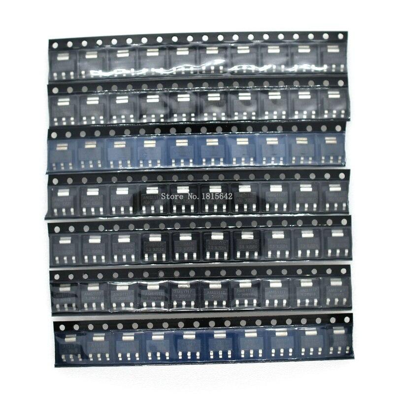 Комплект регулятора напряжения AMS1117 70 шт., 1,2 В/1,5 В/1,8 В/2,5 В/3,3 В/5,0 В/ADJ 1117, 7 значений по 10 шт.