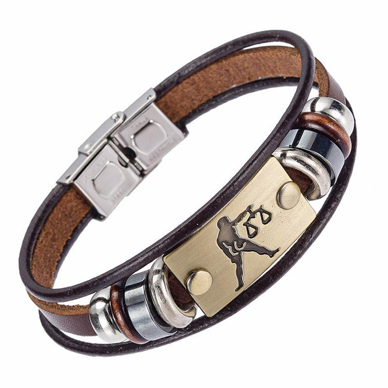 Drop Shipping Hot Selling Europe Fashion 12 zodiac signs Bracelet With Stainless Steel Clasp Leather Bracelet for Men XY17018 5