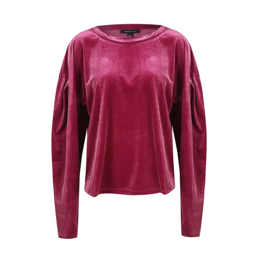 HDY Haoduoyi Women Purple Velvet Hoodies Long Sleeve Casual Sweatshirts Sweet Loose Pullovers 2017 Autumn Winter Tops Female new 10