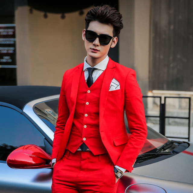 Classic Style One Button Red Groom Tuxedos Groomsmen Men\'s Wedding ...