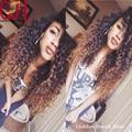 Бесплатная Доставка Бразильские Afro Kinky Фигурные Полные Парики Шнурка Ombre Кружева парик Два Тона Фронта Шнурка Человеческих Волос Парики Для Чернокожих Женщин 8А