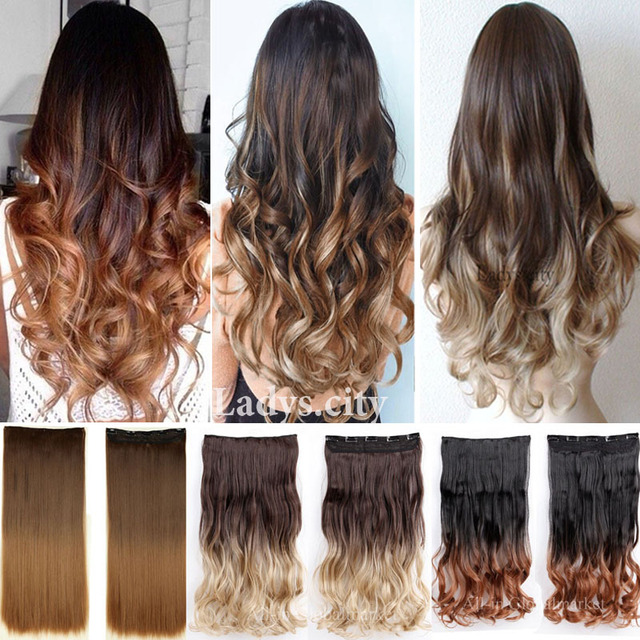New ombre hair clip in hair extensions natural new curly wavy long new ombre hair clip in hair extensions natural new curly wavy long dip dye colored hair urmus Images